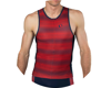 Image 4 for Pearl Izumi Elite Pursuit Tri Singlet (Torch Red/Navy Stripe)