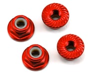 175RC Aluminum 4mm Serrated Locknuts (Red) | alsopurchased