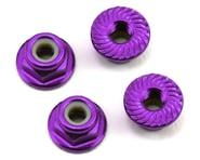 175RC Aluminum 4mm Serrated Locknuts (Purple) | alsopurchased