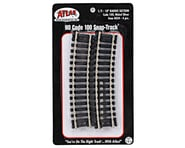 "Atlas Railroad HO-Gauge Code 100 Snap-Track 18"" Radius 1/2 Curve (4) 