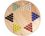 "Wood Expressions WE Games 49-3011 Solid Wood 11.5"" Chinese Checkers Set with Glass Marbles 