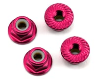 Image 1 for 175RC Aluminum 4mm Serrated Locknuts (Pink)