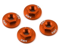 AMR 4mm Aluminum Serrated Flange Nut (Orange) (4)