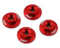 AMR 4mm Aluminum Serrated Flange Nut (Red) (4)