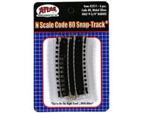 "Atlas Railroad N Code 80 9.75"" Radius 1/2 Curve (6) 