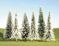 """Bachmann Scenescapes Pine Trees w/Snow (6) (5-6"""") 
