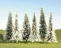 "Bachmann Scenescapes Pine Trees w/Snow (6) (5-6"") 