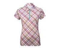 Image 3 for Alexander Julian Women's Argyle Plaid Short Sleeve Jersey (Wh/Pur)