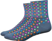 "DeFeet Aireator 3"" Spotty Sock (Gray/Multi-Colored Spots) 
