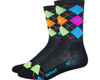 DeFeet Wooleator Hi-Top Sock (Argyle Charcoal/Orange/Blue/Green/Pink)