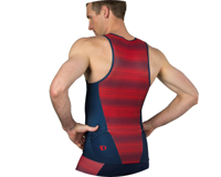 Image 3 for Pearl Izumi Elite Pursuit Tri Singlet (Torch Red/Navy Stripe) (S)