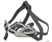 "Wellgo LU-961 Pedals/Toe Clip Combo - Aluminum, 9/16"", Silver"