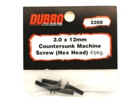 Image 2 for DuBro 3x12mm Flat Head Socket Screws (4)
