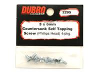 Image 2 for DuBro 3x6mm Flat Head Selftap Screws (8)