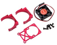 Hot Racing Clip-On Two-Piece Motor Heat Sink w/Fan (Red) | relatedproducts