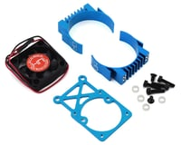 Hot Racing Clip-On Two-Piece Motor Heat Sink w/Fan (Tamiya Blue)