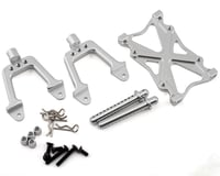 Team Integy SCX10 Rear Shock Mount & Brace Set w/Body Posts (Silver)