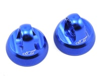 JConcepts Fin Aluminum 12mm V2 Shock Cap (Blue) (2) (Team Associated RC10 B74)