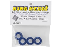 Image 2 for King Headz 17mm Coarse Thread Flanged Wheel Nut (Blue) (4)
