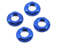 King Headz 17mm Fine Thread Flanged Wheel Nut (Blue) (4) (Losi L8ight)
