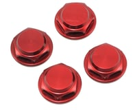 King Headz 17mm Fine Thread Flanged Closed End Wheel Nut (Red) (4) (Losi L8ight)