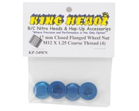 Image 2 for King Headz 17mm Coarse Thread Flanged Closed End Wheel Nut (Blue) (4)