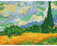Needle Art World Wheat Fields By Van Gogh 20 X 15.
