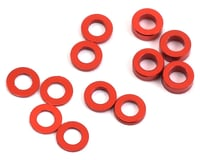 ProTek RC Aluminum Ball Stud Washer Set (Red) (12) (0.5mm, 1.0mm & 2.0mm) (XRAY XB2)
