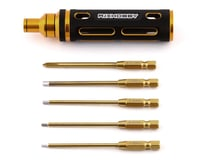 "RJX Hobby 5 Piece 1/4"" Drive Screwdriver Hex & Phillips Driver Set (Gold)"