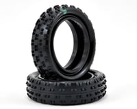 "Image 1 for Schumacher ""Cut Stagger"" Low Profile 2.2"" 1/10 2WD Buggy Front Turf Tires (2) (Green)"