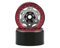 "SSD RC 1.9"" Champion Beadlock Wheels (Silver/Red)"