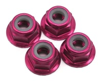 Traxxas 4mm Aluminum Flanged Serrated Nylon Locking Nuts (Pink) (4)