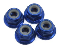 Traxxas 1/16 E-Revo 4mm Aluminum Flanged Serrated Nuts (Blue) (4)