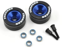 Traxxas Stampede 4x4 Aluminum Wheelie Bar Wheel Set w/Rubber Tires (Blue) (2)