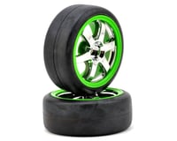 Traxxas 12mm Hex Pre-Mounted 1/16 Slick Tires (2) (Chrome/Green) | relatedproducts