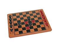 Wood Expressions WE Games 18-1517 Solid Wood Checkers Set - Red & Black Traditional Style with Grooves for Wooden Pieces