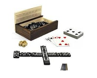 Wood Expressions WE Games 28-8400 Cribbage, Double 6 Dominoes, Cards, Wooden Dice, 10-in-1 Game Combination Set in a Woo