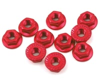 Yeah Racing 4mm Aluminum Serrated Lock Nut (10) (Red)