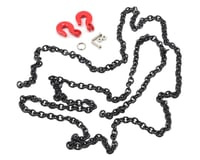 Yeah Racing 96cm 1/10 Crawler Scale Steel Chain Accessory w/Red Hooks (Black) (Vaterra Ascender)