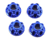 Yeah Racing 4mm Aluminum Serrated Wheel Lock Nut (4) (Dark Blue) (Kyosho Lazer ZX-6.6)