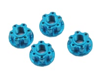 Yeah Racing 4mm Aluminum Serrated Wheel Lock Nut (4) (Blue) (Kyosho Lazer ZX-6.6)