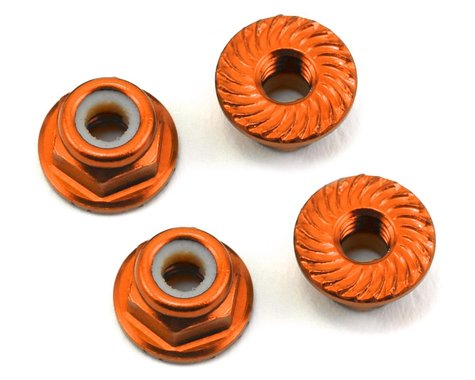 175RC Aluminum 4mm Serrated Locknuts (Orange)