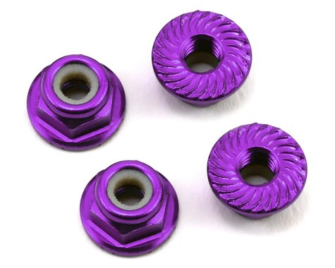 175RC Aluminum 4mm Serrated Locknuts (Purple)