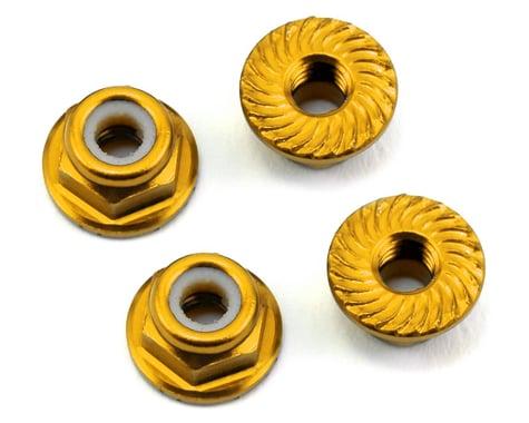 175RC Aluminum 4mm Serrated Locknuts (Gold)