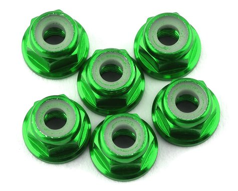 175RC Lightweight Aluminum M3 Flanged Lock Nuts (Green) (6)
