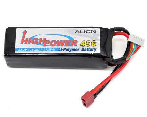 Align 6S High Power LiPo 45C Battery Pack (22.2V/1250mAh)