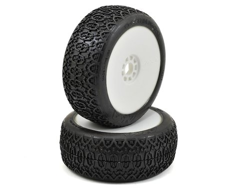 AKA Chain Link 1/8 Buggy Pre-Mounted Tires (2) (White) (Super Soft)