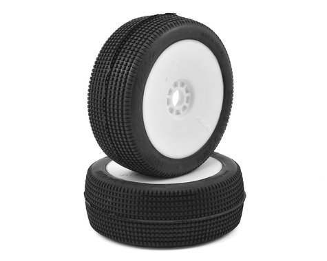 AKA Double Down 1/8 Buggy Pre-Mounted Tires (2) (White) (Super Soft)
