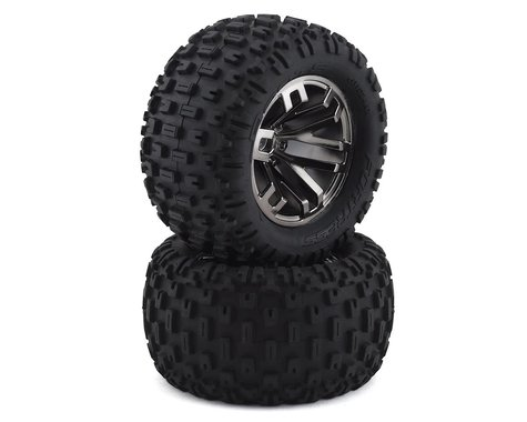 "Arrma dBoots ""Fortress MT"" Pre-Mounted Tire Set (2) (Black Chrome)"