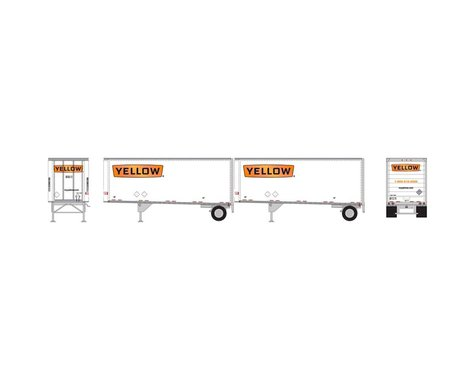 Athearn HO RTR 28' Trailers w/Dolly, Yellow #2 (2)